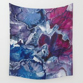 Blue and Red Abstract encaustic flowers Wall Tapestry