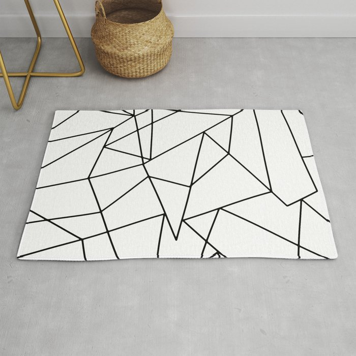 Simple Modern Black And White Geometric Pattern Rug By Blackstrawberry