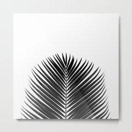 BLACK LEAVES ON WHITE Metal Print