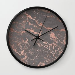 Modern Grey cement concrete on rose gold marble Wall Clock
