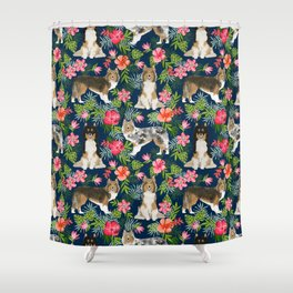 Sheltie shetland sheepdog hawaii floral hibiscus flowers pattern dog breed pet friendly Shower Curtain