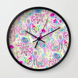 Paisley Watercolor Brights Wall Clock