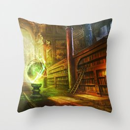 Magical Graceful Old Antique Library Witchcraft Sorcerer Globe Ultra HD Throw Pillow