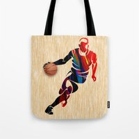 basketball Tote Bags featuring Basketball by marvinblaine