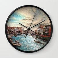 venice Wall Clocks featuring Venice by MehrFarbeimLeben
