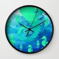 seahorse Wall Clocks featuring Seahorse by Sara Eshak