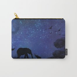 Elephants at Play (Blue) Carry-All Pouch