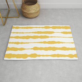 Macrame Stripes in Mustard Yellow and White Rug
