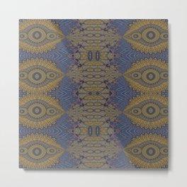 GoldBlue Mandalic Pattern 1 Metal Print
