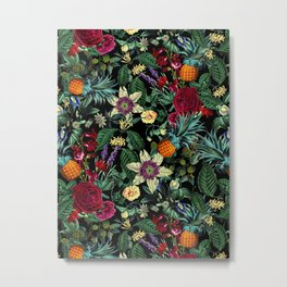 Floral and Fruit pattern Metal Print