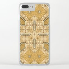 Victorian Art Deco Medieval Pattern light brown SB20 Clear iPhone Case