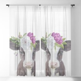 Baby Cow with Flower Crown Sheer Curtain