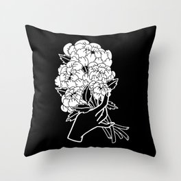 Peony Floral Bouquet Throw Pillow