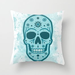 Sugar Skull Blues Throw Pillow