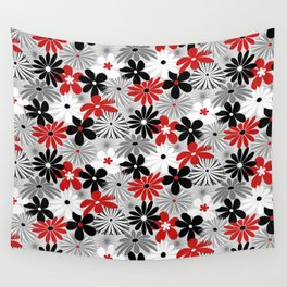 Funky Flowers in Red, Gray, Black and White Wall Tapestry