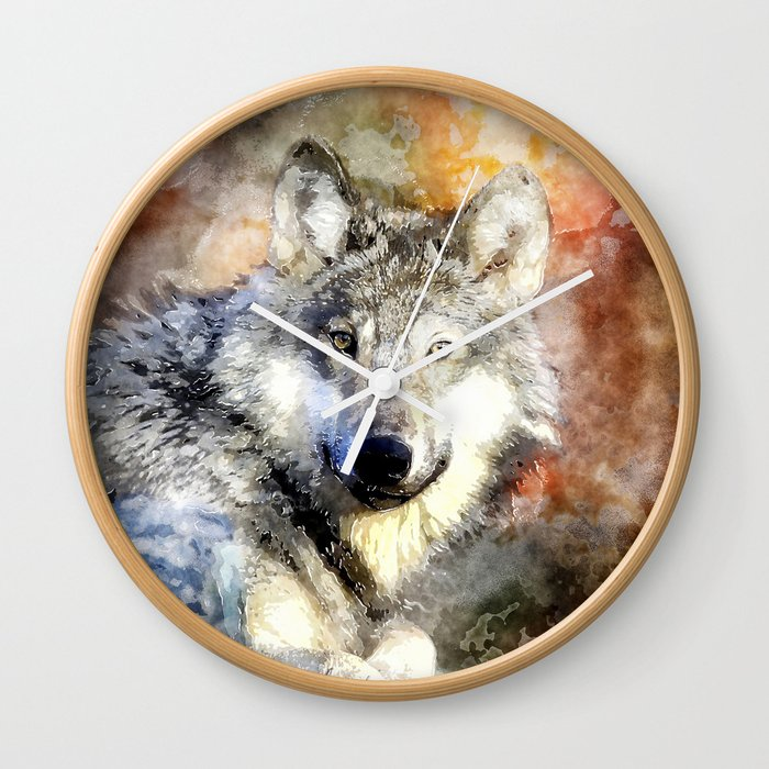 Wolf Animal Wild Nature-watercolor Illustration Wall Clock