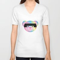 bondage V-neck T-shirts featuring Classic Rainbow Bondage Bear by YOSH FRIDAY