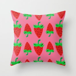 Strawberry's and cream 1 Throw Pillow
