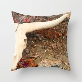 Texas Longhorn Steer Skull Art Photo Throw Pillow