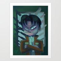 levi Art Prints featuring Grumpy Levi by BomberBee