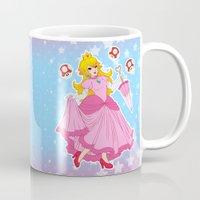 princess peach Mugs featuring PRINCESS PEACH by Laurdione