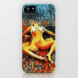 5198s-CH Abstract Nude Woman on Lake Superior Shore Rendered as Colorful Art by Chris Maher iPhone Case