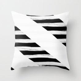 Cross Black and White Gross Stripes Throw Pillow