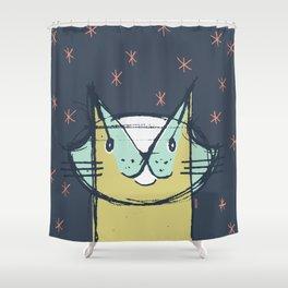 Cubist Cat Study #11 by Friztin Shower Curtain