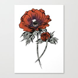 White as Milk, Red as Blood: Flower Canvas Print