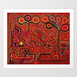 Kuna Indian Men in Canoes Art Print