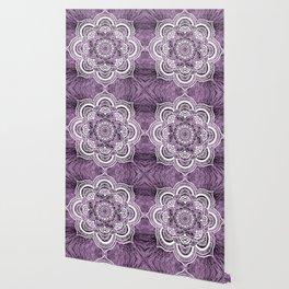 Mandala Grayish Purple Colorburst Wallpaper