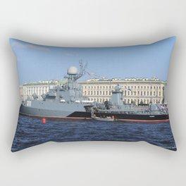 "The military battleship ""Kazanec"" 311. Neva River. Day of the Russian Navy. Rectangular Pillow"