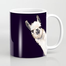 Sneaky Llama in Black Coffee Mug