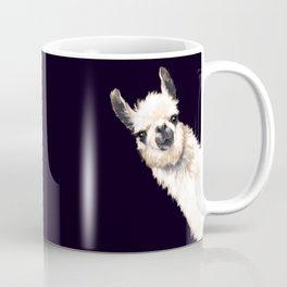 Sneaky Llama in Black Coffee Mug