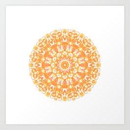 Mandala 12 / 1 eden spirit orange yellow pink Carnelian Art Print