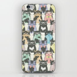 Hipster Cat - Hipster Kitten - Doodle Cat Pattern - Crayon Pattern - Pattern iPhone Skin