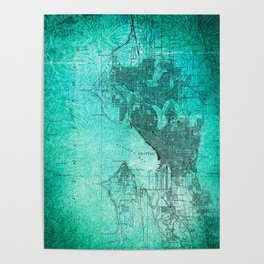 Turquoise Seattle Map Design Poster
