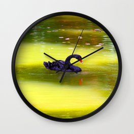 Swan In The Pond 2 ... By LadyShalene Wall Clock
