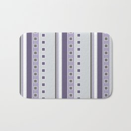 Squares and Stripes in Purple and Gray Bath Mat
