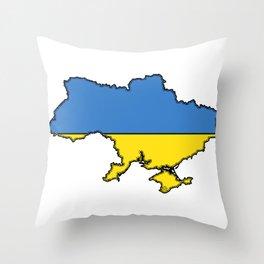 Ukraine Map with Ukrainian Flag Throw Pillow