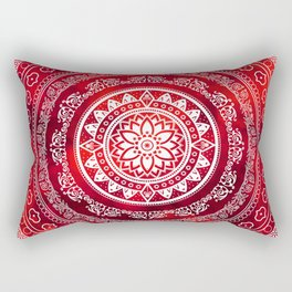 'Scarlet Destiny' Red & White Flower Of Life Boho Mandala Design Rectangular Pillow