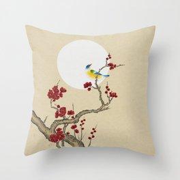 Plum blossoms, bird and the moon Type E (Minhwa: Korean traditional/folk art) Throw Pillow