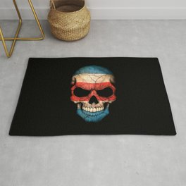 Dark Skull with Flag of Costa Rica Rug