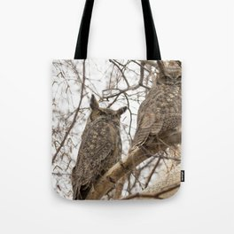 Great Horned Owl Pair Tote Bag