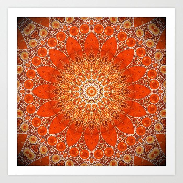 Detailed Orange Boho Mandala Kunstdrucke
