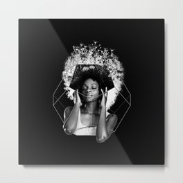 Afro A Flower Metal Print