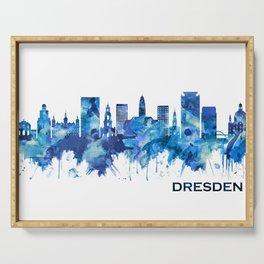 Dresden Germany Skyline Blue Serving Tray