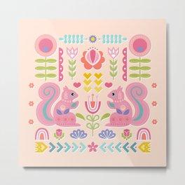 Pink Squirrels In A Scandinavian Garden Metal Print
