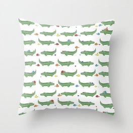 Alligator, Snail and Turtle Party - Children - 57 Montgomery Ave Throw Pillow