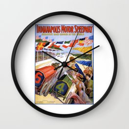 1909 Indianapolis Motor Speedway Advertising Poster Wall Clock